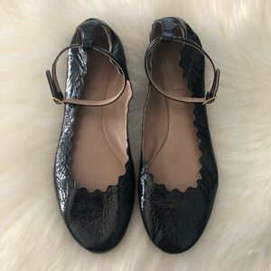 Chloe Lauren Ankle Wrap Scalloped Black Flats
